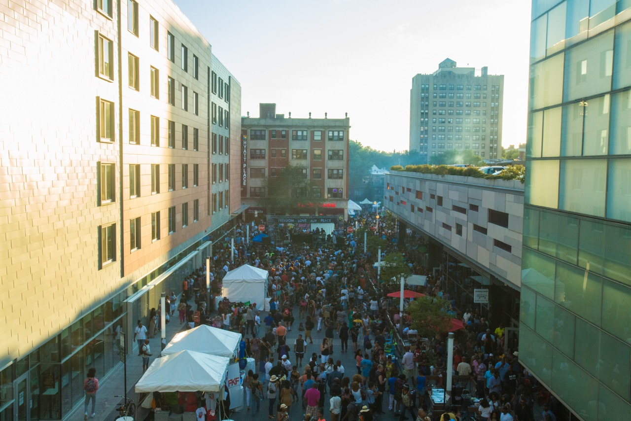Harper Court during the block party