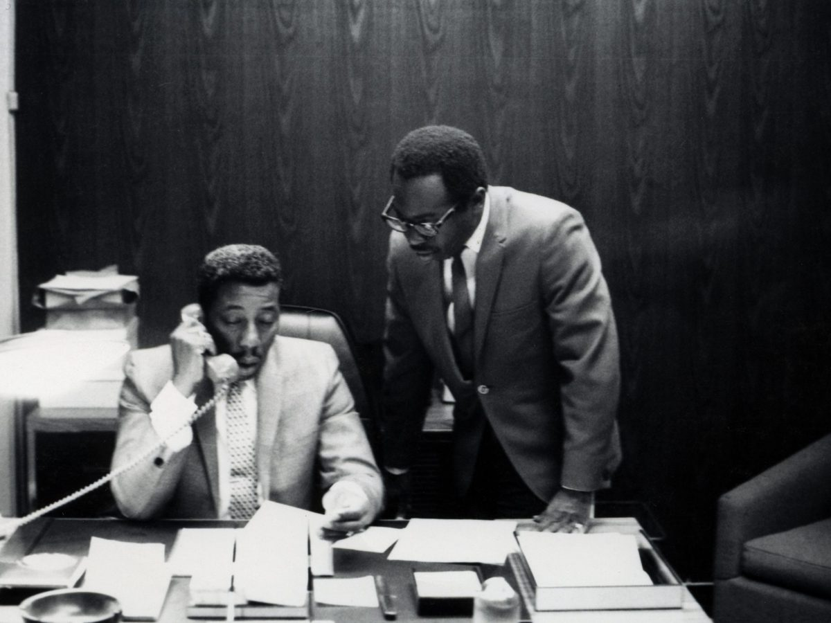 Eddie Thomas and Curtis Mayfield in the Curtom offices in the late 1960s