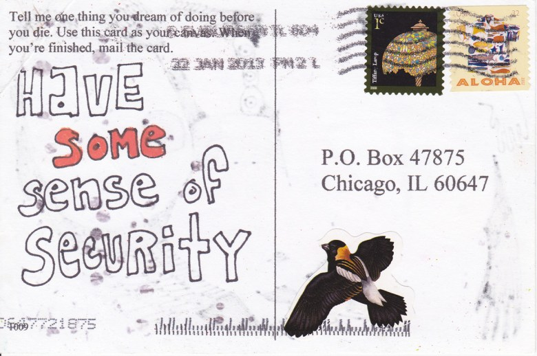 """back of a postcard with message """"Have some sense of security"""""""