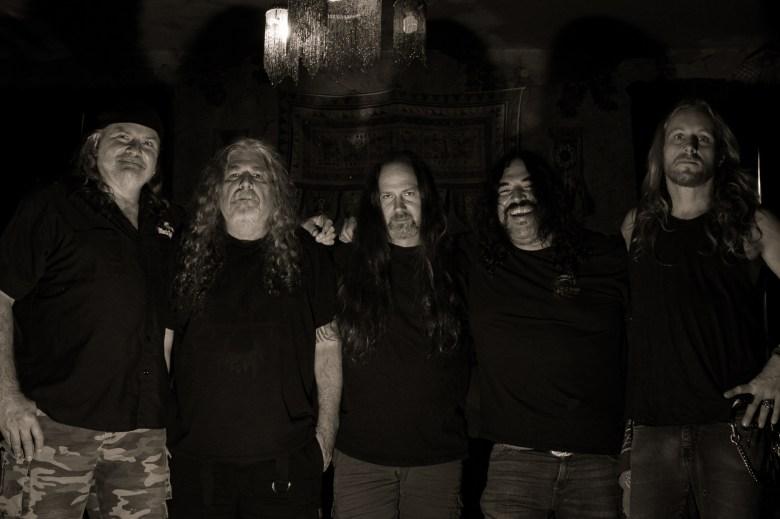 Doom-metal band the Skull in 2021: Ron Holzner, Eric Wagner, Lothar Keller, Henry Vasquez, and Matt Goldsborough