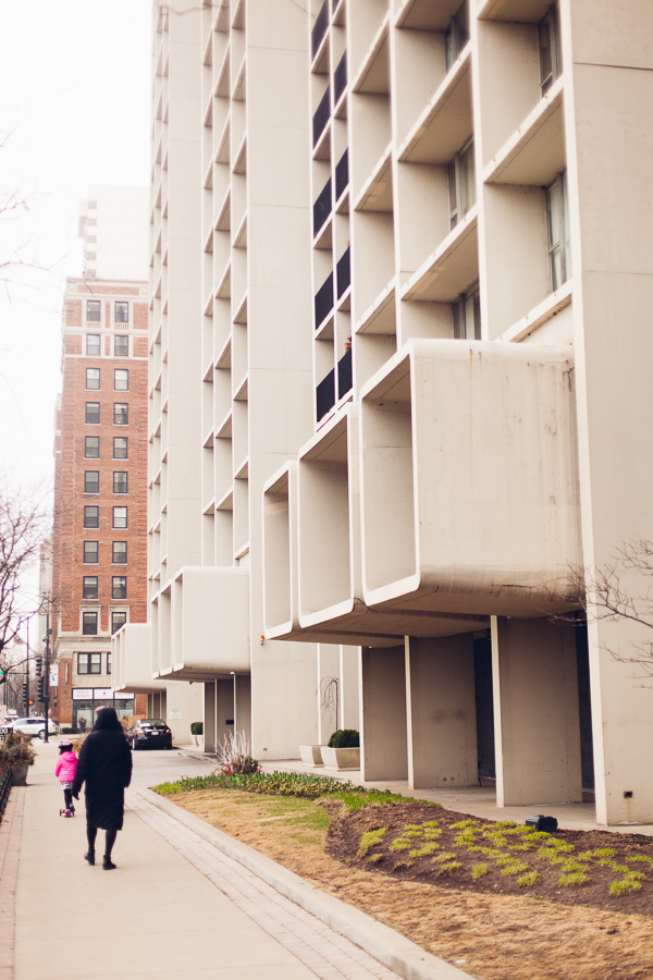 The boxes that jut out of the second floor of Harbor House, on Belmont and Lake Shore Drive, were added to correct a surveying oversight.