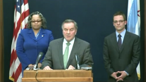 """Mayor Daley with newly appointed 29th and First Ward aldermen Deborah Graham and Proco """"Joe"""" Moreno on WGN"""
