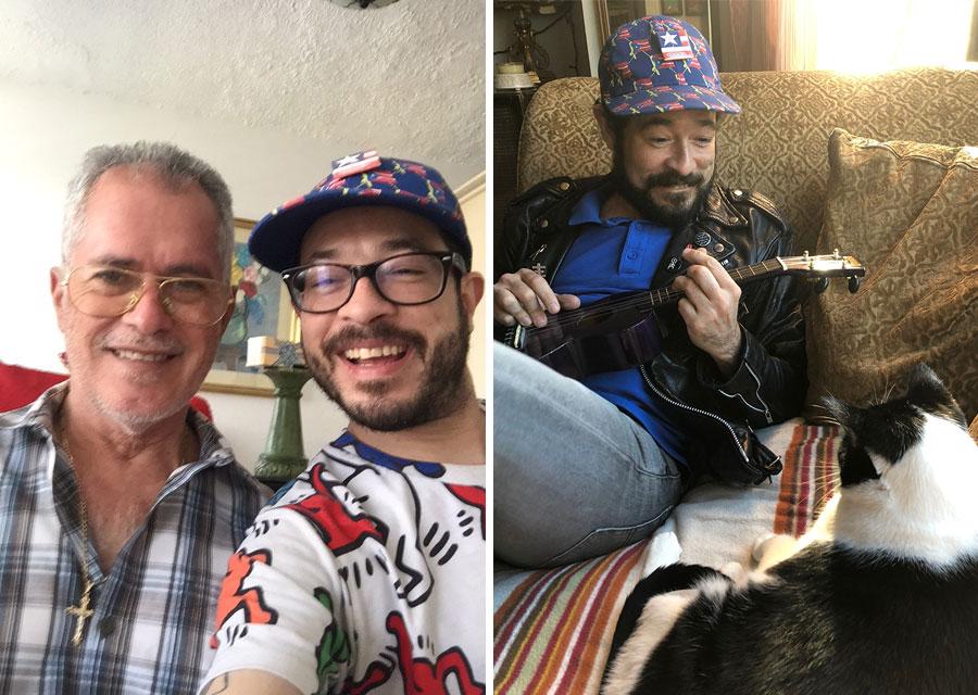 Alejandro Morales hangs with his dad and serenades a cat.