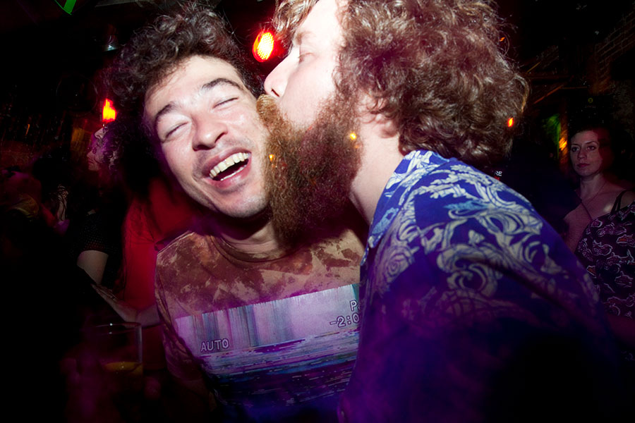 Sam Henry, aka Plastic Boner Band, demonstrates his affection for Alejandro at Mortville in 2012.