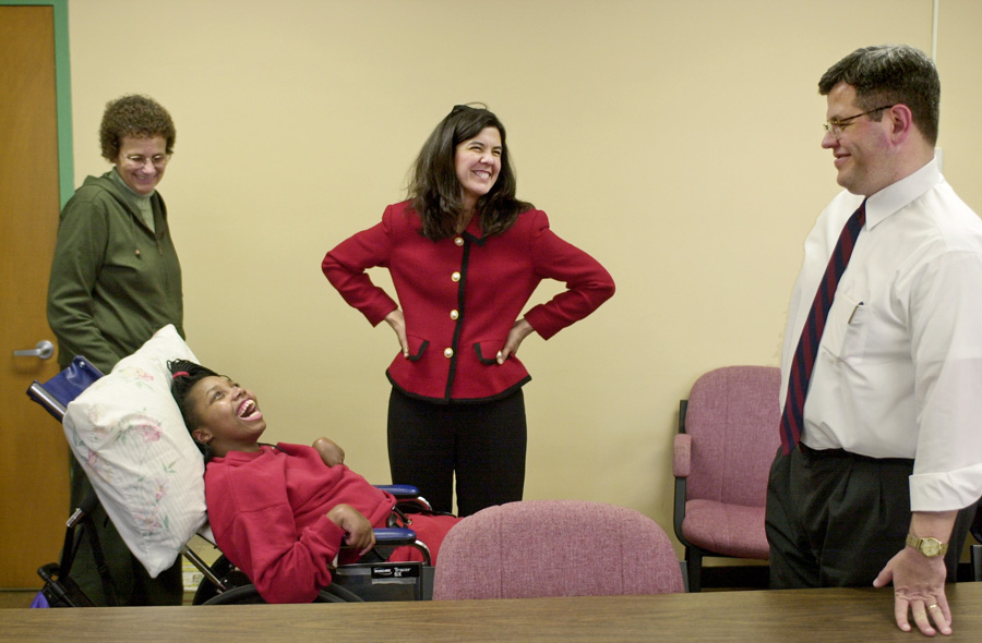 """Shatoya Currie, formerly known as """"Girl X,"""" with (left to right) speech therapist Barbara Robinson, Alvarez and former assistant state's attorney William O'Brien in 2002. Alvarez touts the conviction of Currie's assailant as a major achievement."""