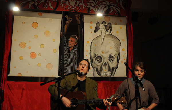 Chris Schoen and Emmy Bean (seated) and Dave Buchen (standing)