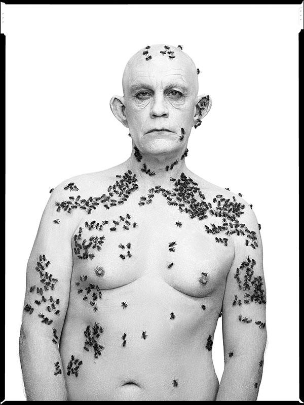 Sandro Miller's version of Richard Avedon's Ronald Fisher, Beekeeper, Davis, California, May 9, with John Malkovich