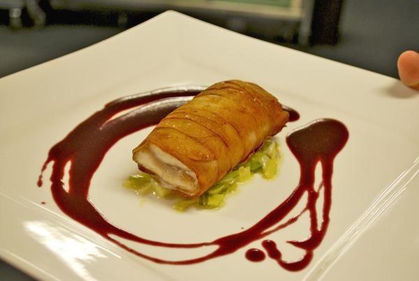 Foss's Crisp Paupiette of Asian Carp in Barolo Sauce