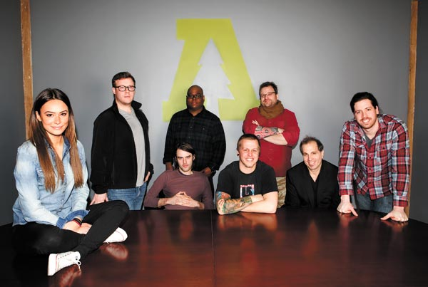 "The Audiotree gang. Seated: Chelsea McGrath, Kellen & Me, Michael Johnston, Ira Antelis. Standing: Adam Thurston, Christopher Watkins, Chris ""Evil Vince"" May, Jon LeClerc."