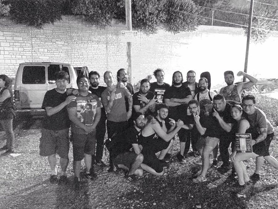 Members of Tropiezo, No Slogan, Tensions, and Rumores outside Rancho Huevos in September 2015.