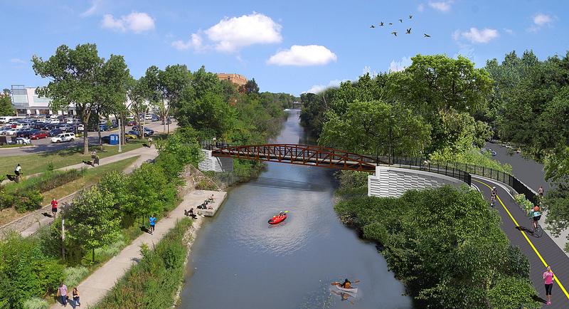 Rendering of the Lincoln Village Pedestrian Bicycle Bridge
