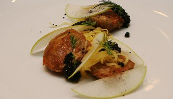 Fried Bull's Testicles With Sturgeon Caviar, Rutabaga, Granny Smith Apple, and Black Caraway