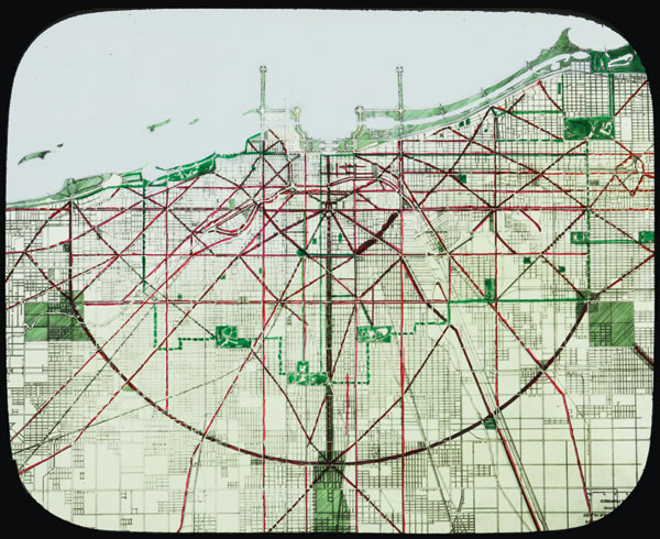 """Lantern slide of the street and boulevard system, """"present and proposed,"""" from the Plan of Chicago"""