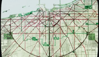 """Lantern slide of the street and boulevard system, """"present and proposed,"""" from the <i>Plan of Chicago</i>"""