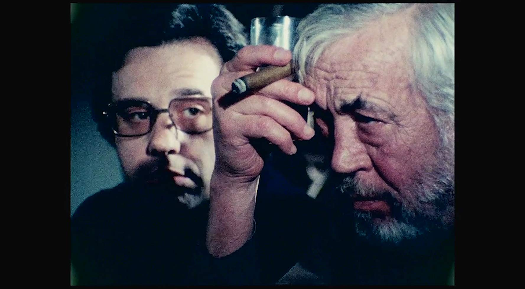 Peter Bogdanovich and John Huston in <i>The Other Side of the Wind</i>