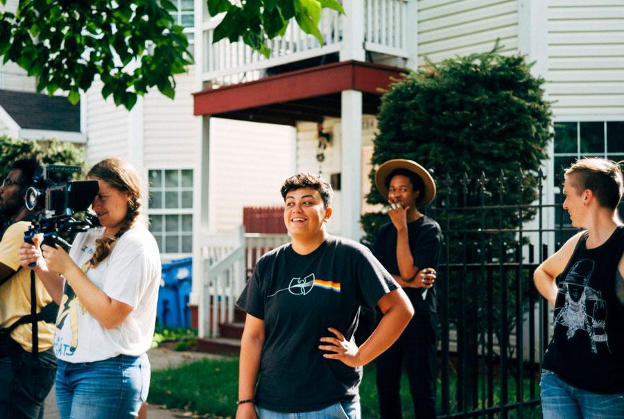 Cinematographer Hannah Welever, script supervisor Judy Febles, wardrobe stylist Vincent Martell, and production designer Suzannah Linnekin