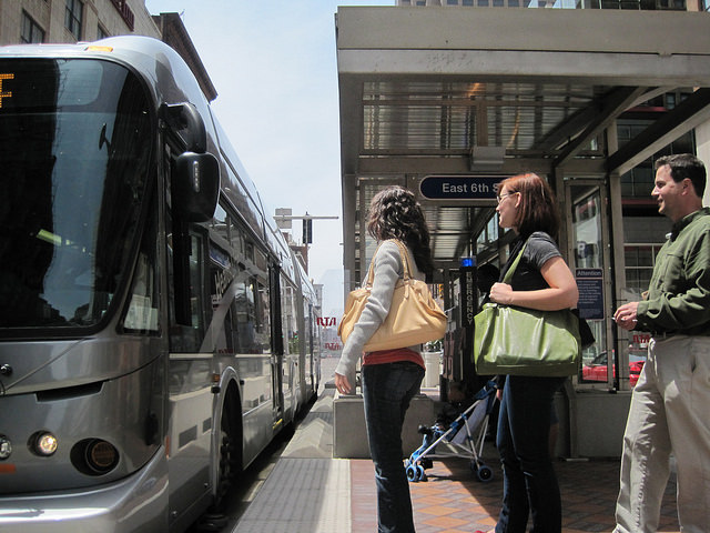A boarding platform on Cleveland's HealthLine BRT route