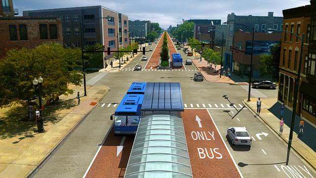 A rendering of the proposed Ashland Avenue BRT corridor.