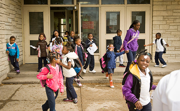 Students at Calhoun North elementary, in East Garfield Park, in May. Calhoun North's enrollment was 99 percent black and 98 percent low-income. It was one of 50 schools the board closed this year because they were underused.