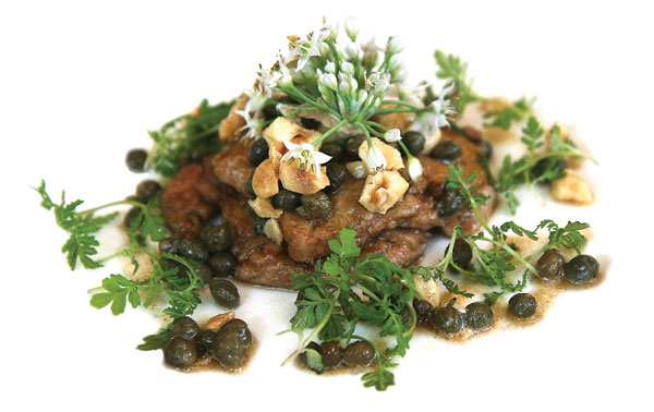 Sauteed calves' brains with fried hazelnuts and capers