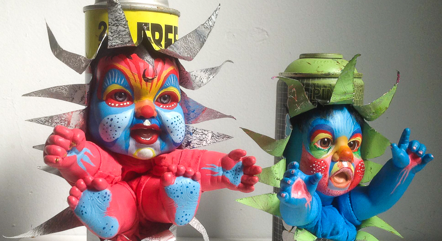 """Mac Blackout's <i>Graffiti Babies</i> are part of the Chicago Truborn exhibit """"Can I Kick It?"""""""