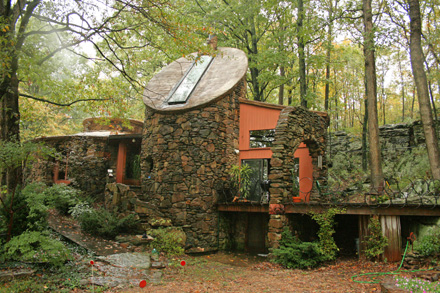 The Duncan/Etzkorn Castle Dwelling, designed by architect Bruce Goff in the mid-60s, provides you with your own weekend microkingdom.