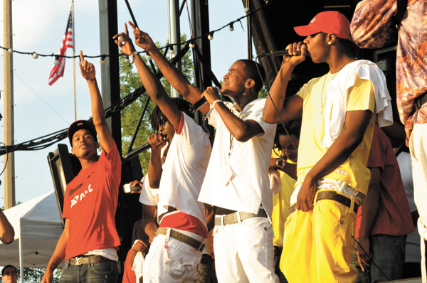 Chief Keef, second from left, in a surprise performance during AraabMuzik's set at this year's Pitchfork Music Festival