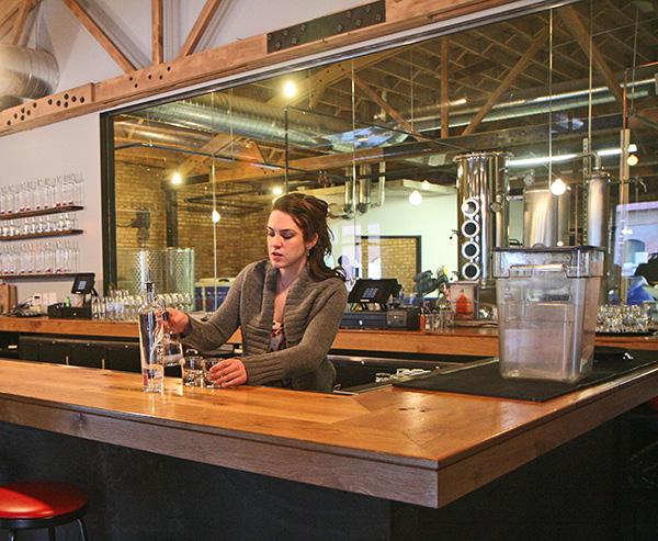 Chicago Distilling Company head bartender Shannon Bandur experiments behind the bar.