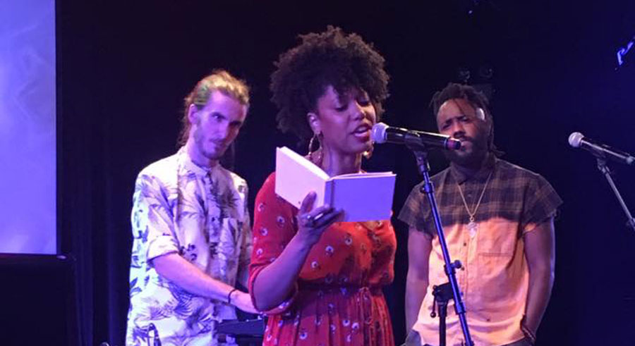 The Growing Concerns Poetry Collective at their album-release event at Steppenwolf Theatre in August