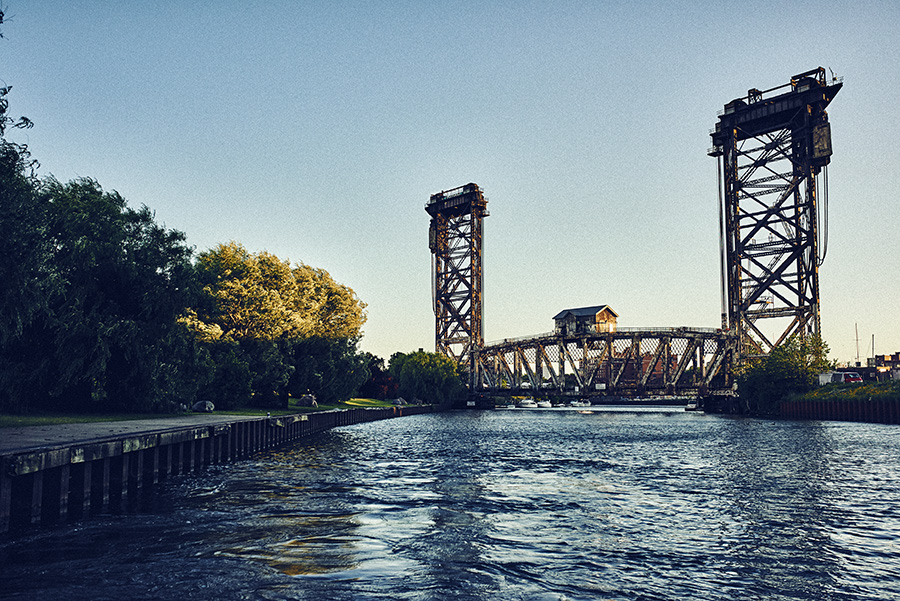 A view of the Canal Street Railroad Bridge at the China Town stop in Ping Tom Memorial Park.