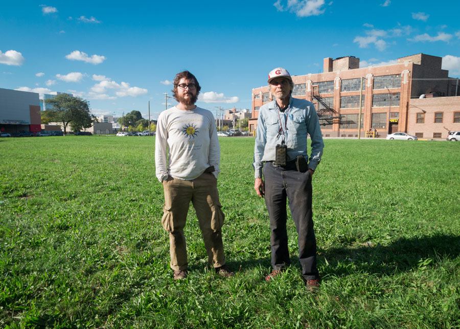 Dunn, right, and sales manager David Durstewitz in the lot that will become the farm's new home.