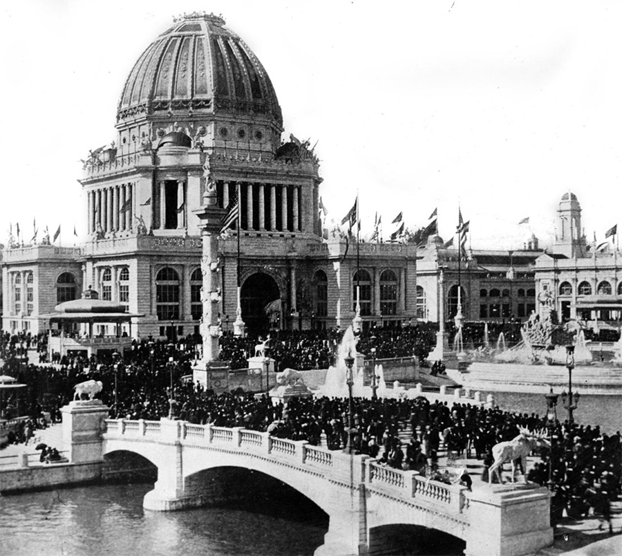 The Administration Building and Grand Court during the October 9, 1893, commemoration of the 22nd anniversary of the Chicago fire.