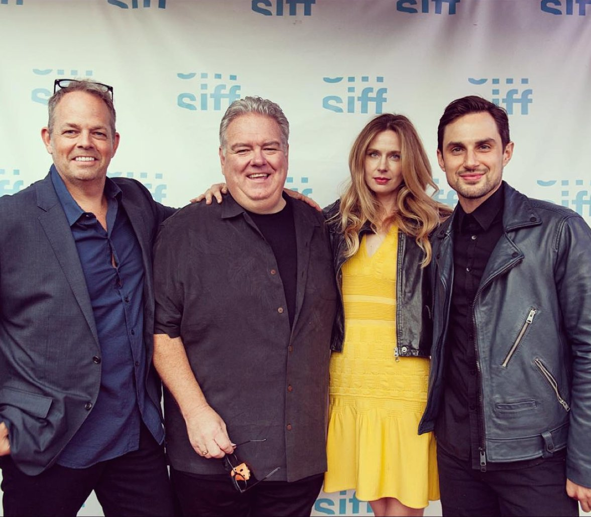From left to right: Filmmaker Ned Crowley and actors Jim O'Heir, Anne Dudek, and Andrew J. West at the Seattle International Film Festival, where <i>Middle Man</i> won the Grand Jury Prize.