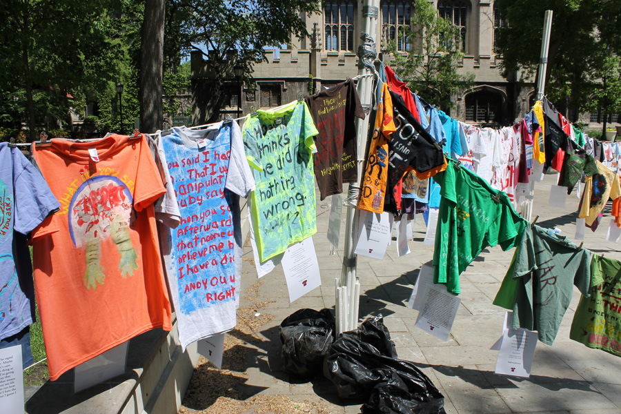 The most recent UChicago Clothesline Project installation, from May 2015. Each shirt represents a sexual assault survivor's story.
