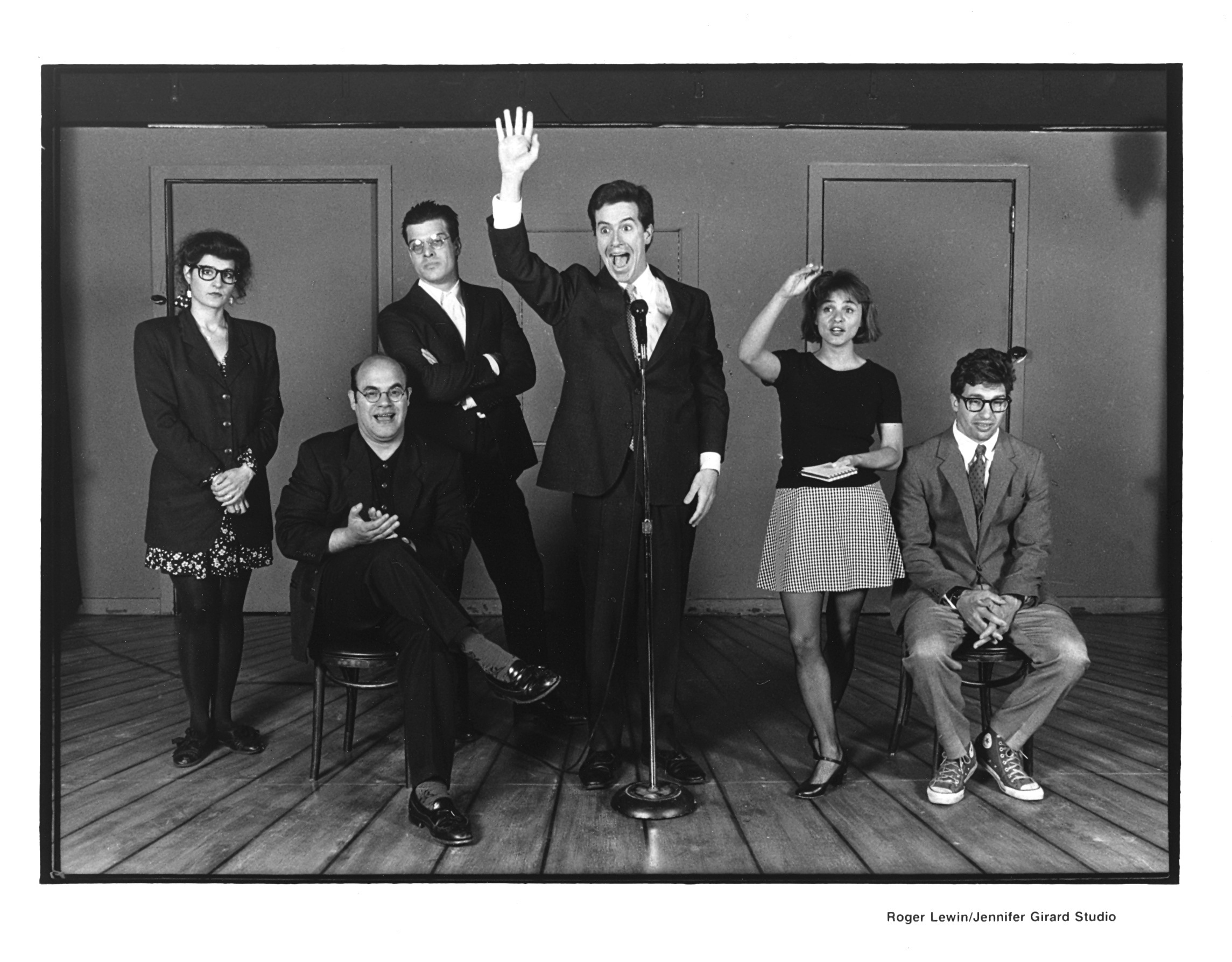 The cast of Second City Northwest's <i>Destiny and How to Avoid It</i>: Nia Vardalos, Ian Gomez, Mitch Rouse, Colbert, Amy Sedaris, and Paul Dinello