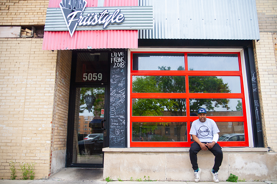 """Gilkey outside another of his enterprises, Friistyle, a Bronzeville restaurant that began as a series of pop-ups specializing in """"loaded"""" Belgian-style pommes frites"""