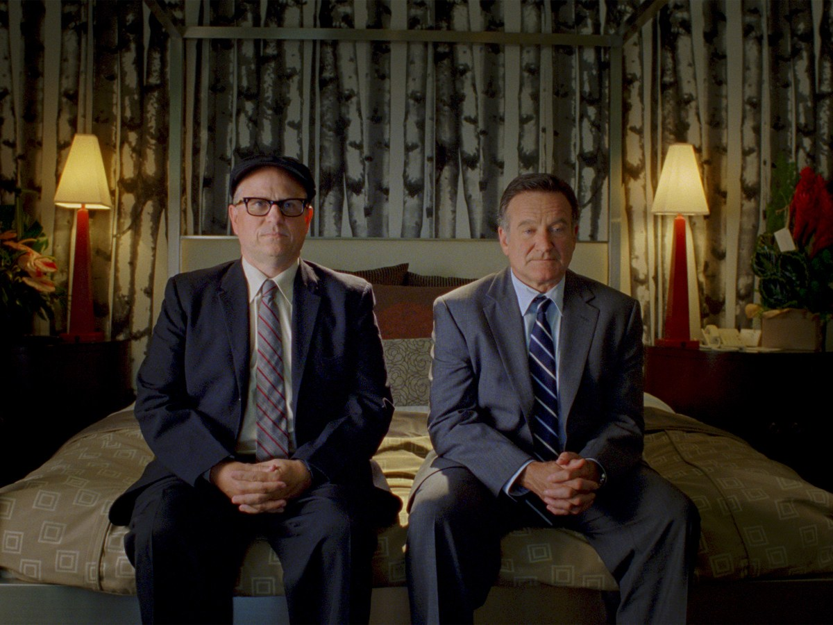 """Bobcat Goldthwait and Robin Williams in """"World's Greatest Dad"""""""