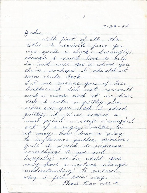 The first of Andre Davis's many letters to Judi Stickel. (Click on the image to read the letter in its entirety.)