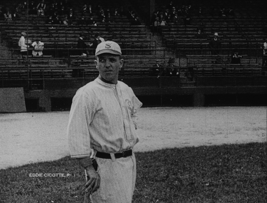 White Sox pitcher Eddie Cicotte, filmed during the 1919 World Series by a cameraman for <i>British Canadian Pathé News</i>. The footage was Morrison's most spectacular find as he investigated the Dawson City collection.