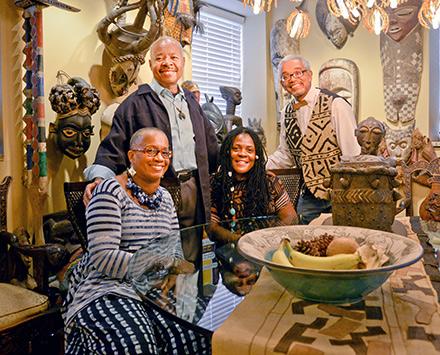 Diasporal Rhythms cofounders Joan Dameron Crisler, Daniel Parker, Carol Briggs, and Patric McCoy, in Parker's home