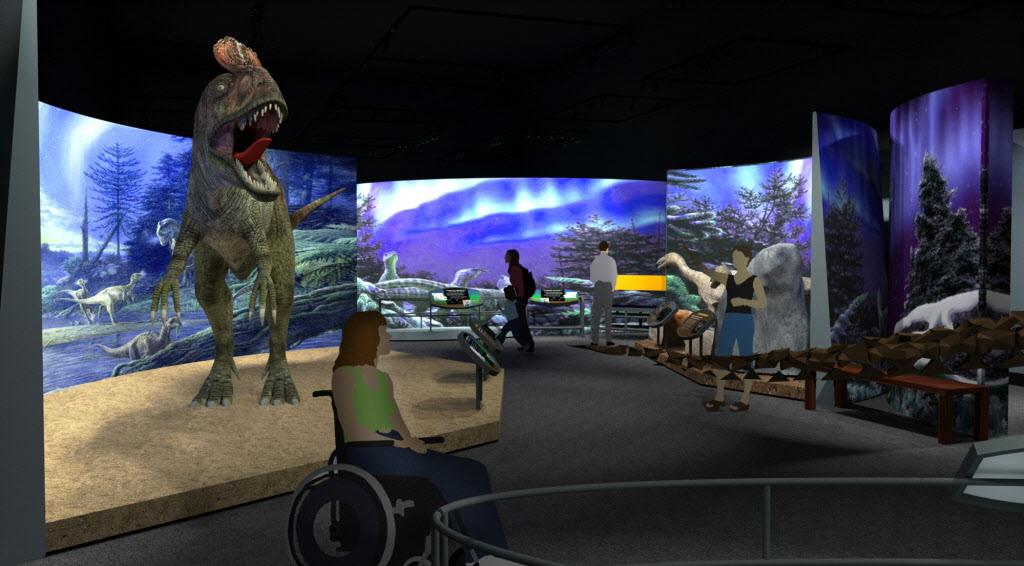 "A mock-up of the Antarctic Dinosaurs exhibit includes the Cryolophosaurus AKA ""Elvisaurus"""
