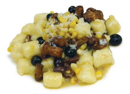 Mochiko gnocchi with chanterelles, corn, and blueberries