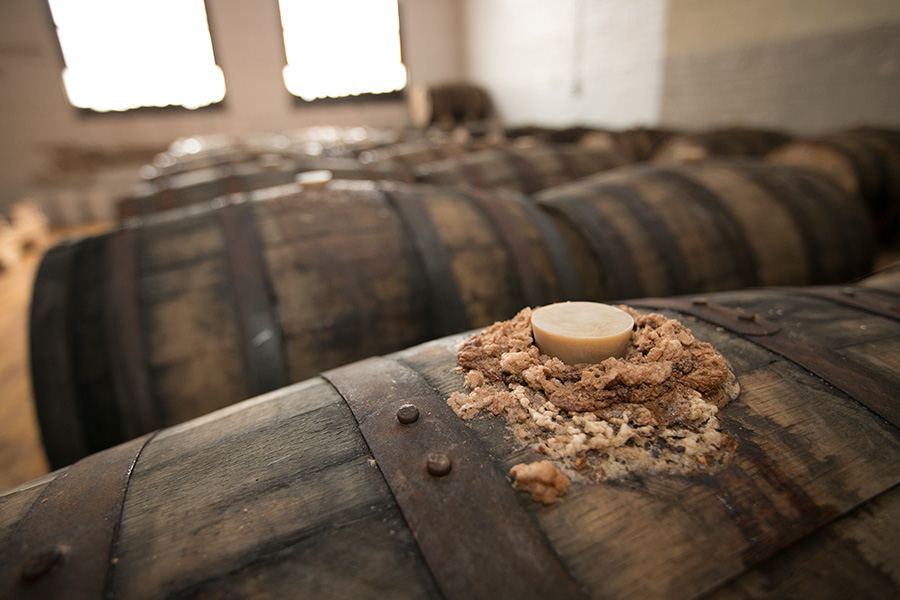 The aging lambic-style beer is so lively that it sometimes bubbles out the top.