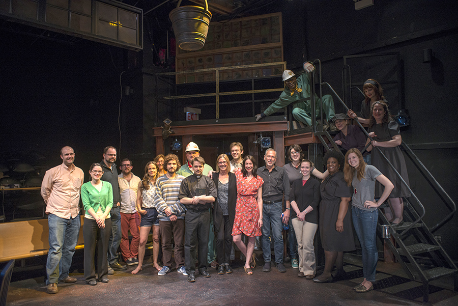 Sally Nemeth (center front in black sweater) with the cast of the 2014 Shattered Globe revival of Mill Fire.