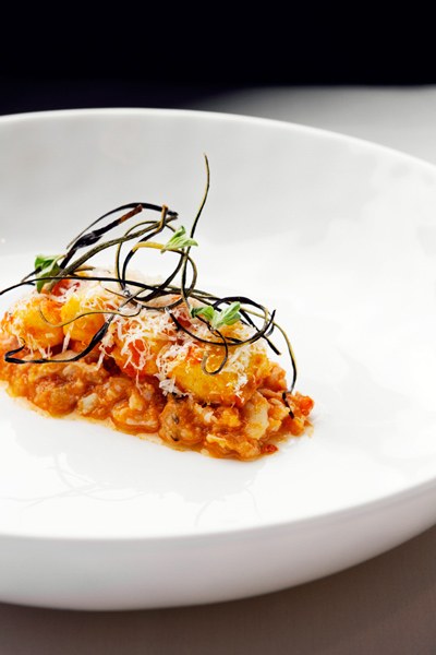 A new dish at the ever changing El Ideas: spanner crab with cappellini, tomato, and poppy seed