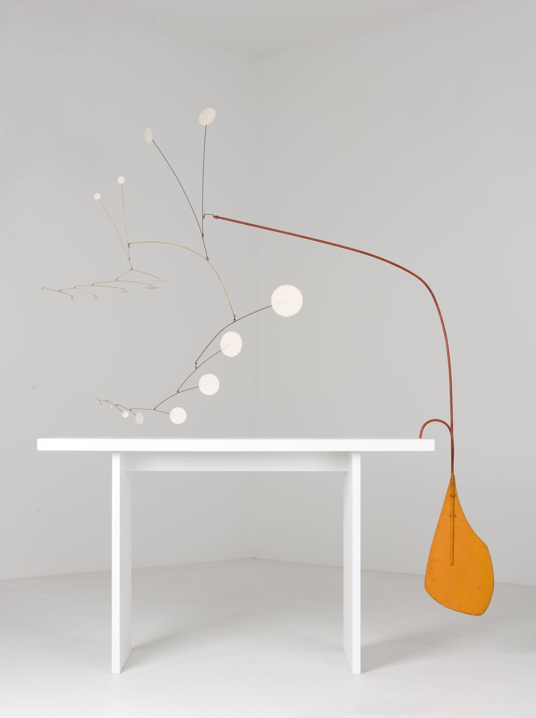 """Alexander Calder, <i>Orange Under Table</i>, c. 1949, on display as part of """"Heaven and Earth"""" at the Museum of Contemporary Art"""