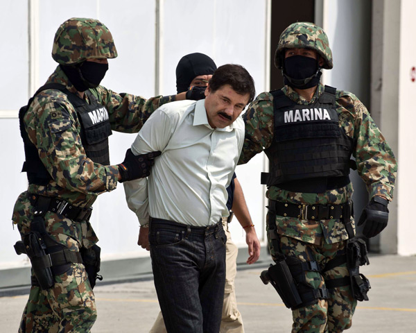 On February 22, the Mexican navy arrested Sinaloa cartel leader El Chapo Guzman, who surrendered without firing a shot.