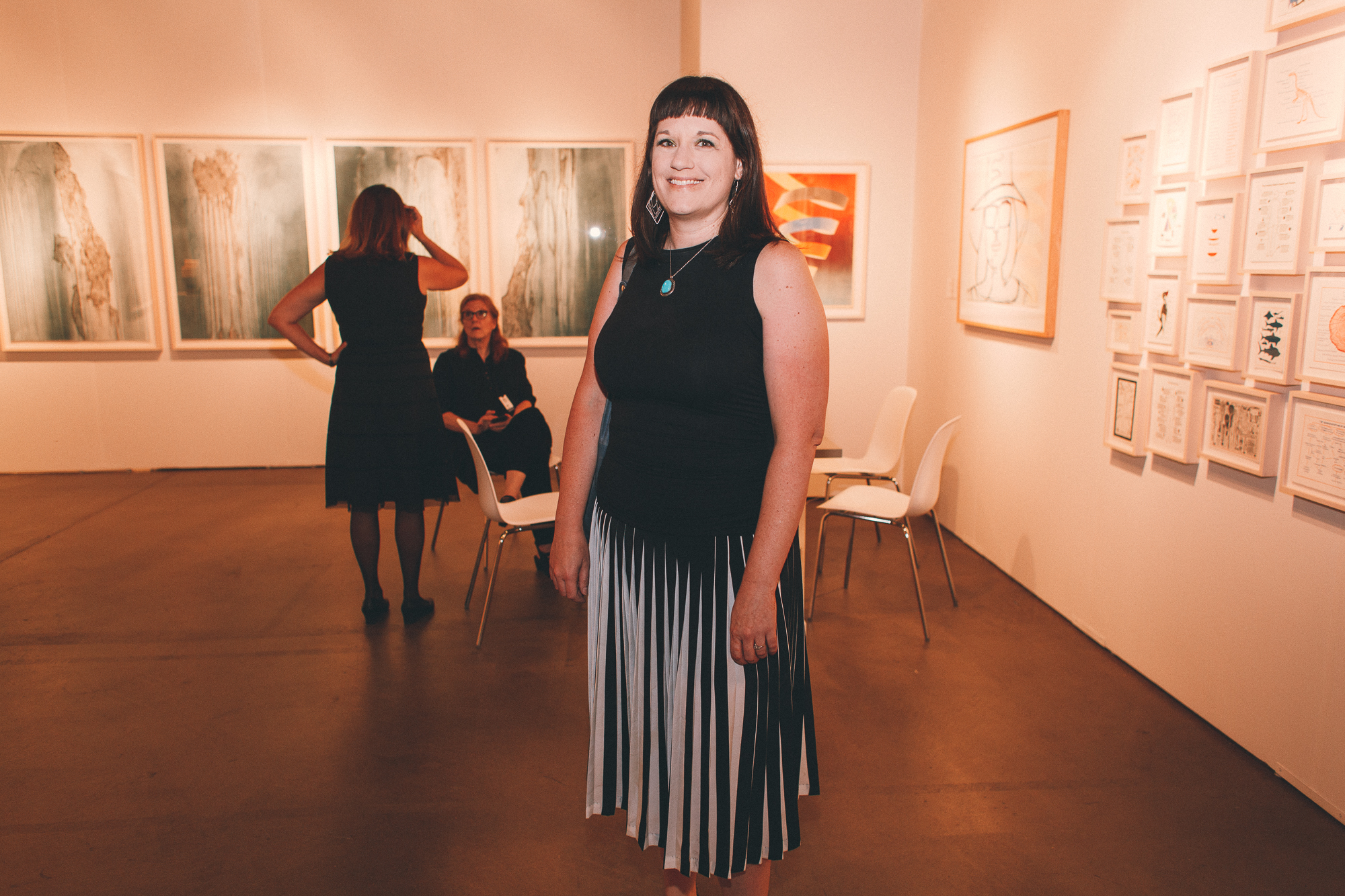 Pleats make another appearance in local artist Renee Robbins's dress.