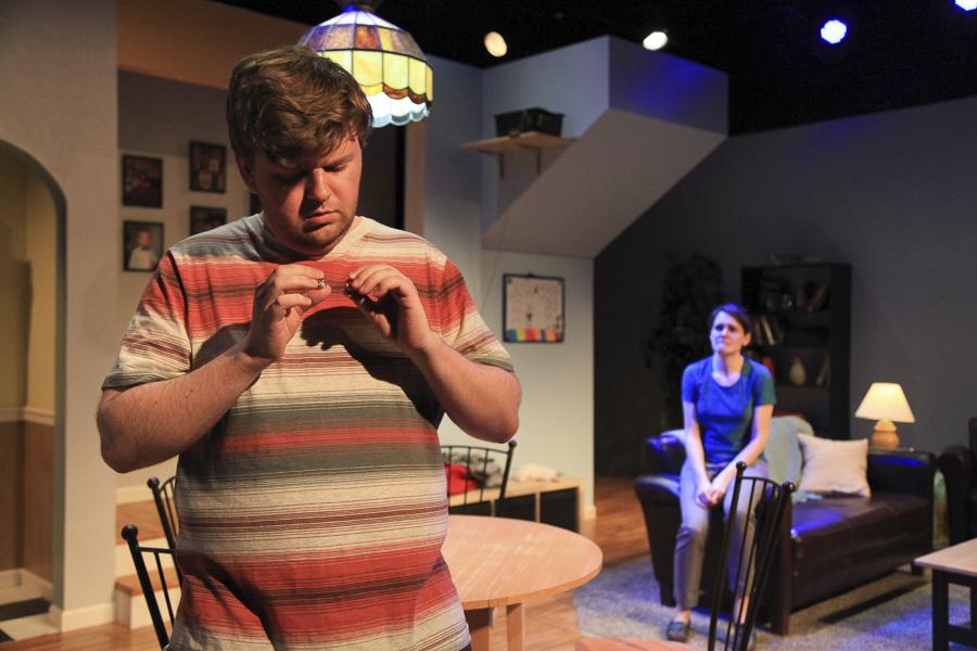 Justin Tsatsa and Amy Johnson in Interrobang Theatre Project's <i>Falling</i>