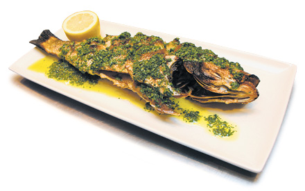 Roasted red snapper  with lemon-parsley gremolata